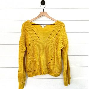 Pink Rose yellow knit sweater